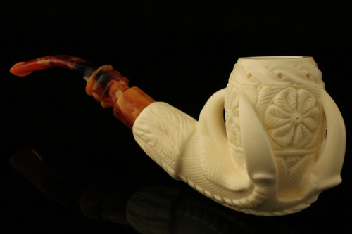 Eagle's Claw Hand Carved Block Meerschaum Pipe made by Emin Brothers in case 9828