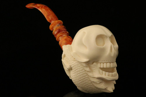 Skull & Dragon Meerschaum Pipe carved by I. Baglan with case 10182
