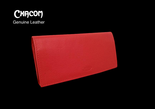 Genuine Leather CHACOM Pipe and Tobacco Pouch - Red