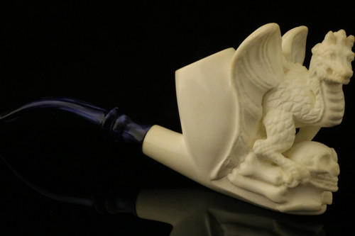Dragon Hand Carved Block  Meerschaum Pipe with CASE 10999