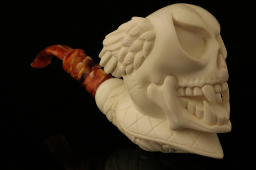 Devil Block Meerschaum Pipe Carved by I. Baglan with CASE 11001