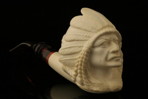 Big Chief Hand Carved by R. Karaca Meerschaum Pipe in a fitted case 11032