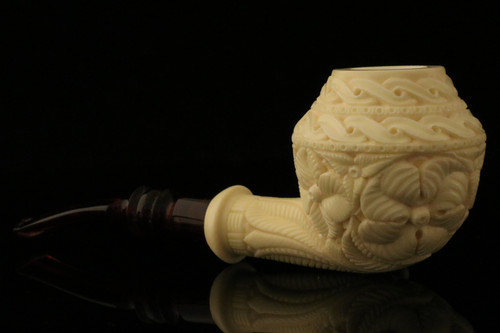 Rhodesian Meerschaum Pipe Carved by Emin Brothers with custom case 11100
