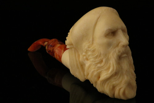 Old Man with nightcap Meerschaum Pipe by Kenan with CASE 11460