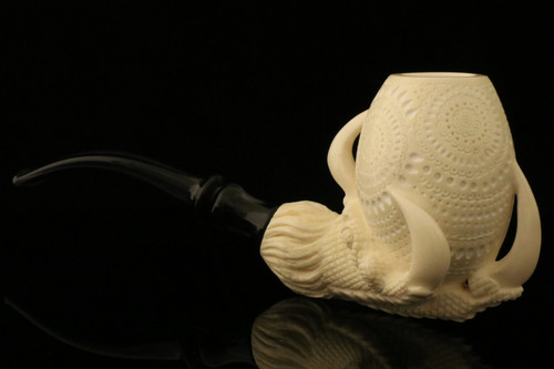 Designers Lattice Eagle's Claw Meerschaum Pipe with case