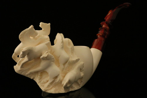 Horses Hand Carved Block Meerschaum  Pipe with a fitted CASE 11666