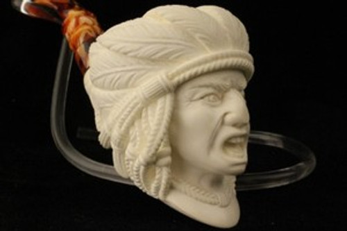 Cheering Chief Hand Carved by I. BAGLAN Deluxe Meerschaum Pipe in Fit Case 0736