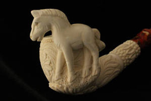HORSE Hand Carved Block Meerschaum Pipe comes in a fiited case 1461
