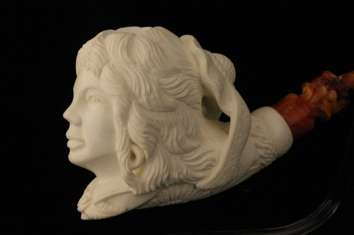 LADY with HAT  Meerschaum Pipe by I BAGLAN 1656  w/CASE