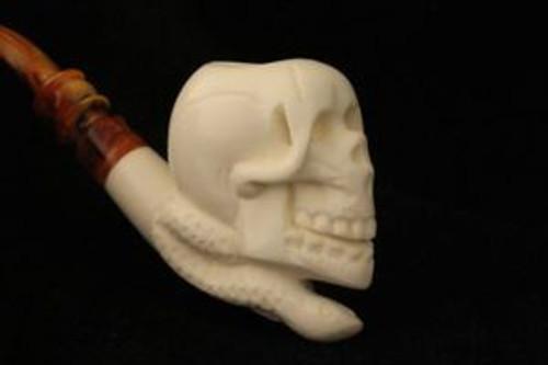 SKULL & SNAKE Meerschaum Pipe by E. CEVHER 1703 W/CASE