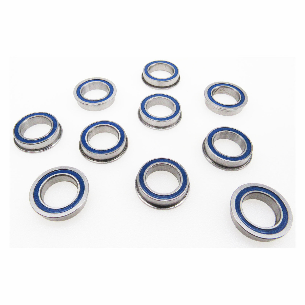 TRB RC 10x15x4mm Flange Precision Ball Bearings Rubber Sealed Blue (10)