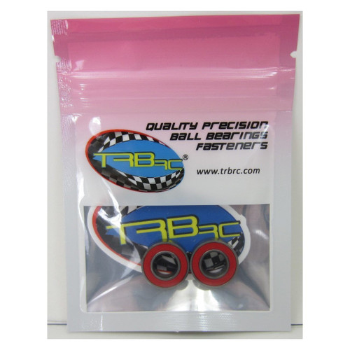 TRB RC 8x16x5mm Precision Ceramic Ball Bearings Red Rubber Seals (2)
