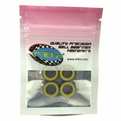TRB RC 8x16x5mm Precision Ball Bearings ABEC 3 Rubber Sealed YEL (4)