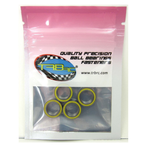 TRB RC 10x15x4mm Precision Ball Bearings ABEC 3 Rubber Sealed YEL (4)