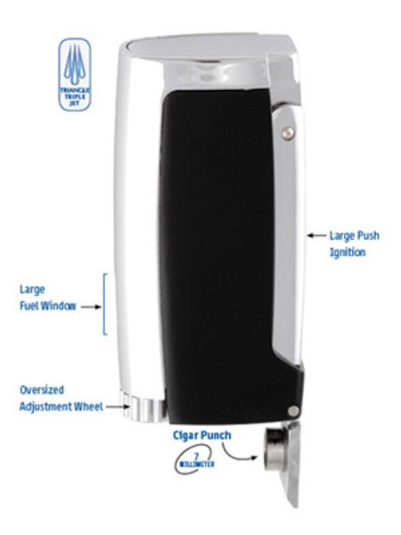 XIKAR Pulsar Triangle Triple Jet Flame Lighter Black mardocigars.com
