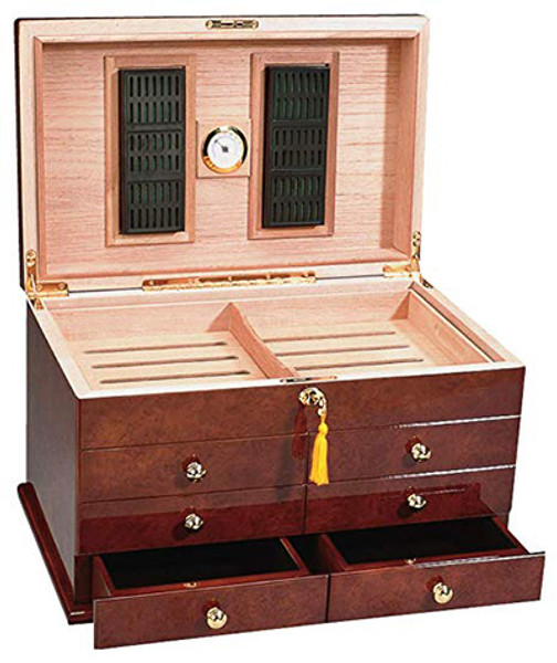 Ravello Desktop Humidor High Gloss Pommeled Burl mardocigars.com