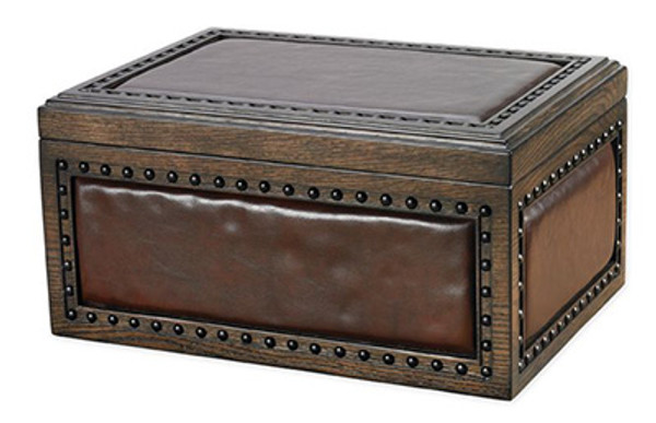 Nottingham Desktop Humidor Upholstered in Vintage Brown Leather with Hand-hammered Nail Heads mardocigars.com