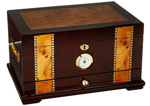 Solana Desktop Humidor Gloss Rosewood with Wood Inlay mardocigars.com