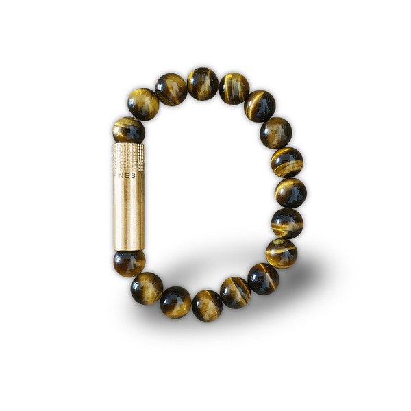 Les Fines Lames-Solo Brass Tiger Eye Punch Bracelet mardocigars.com