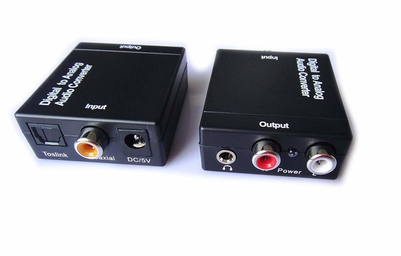 Easyday Digital to Analog Audio Converter with Digital Optical Toslink and  S/pdif Coaxial Inputs and Analog RCA and AUX 3 5mm (Headphone) Outputs - 6