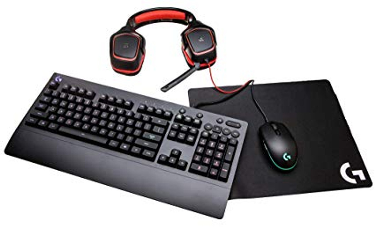 Logitech G Gear UP Gaming Bundle Gaming Grade Mouse G203, Keyboard G213,  Stereo Headset G230 and Mouse Pad G240, Black
