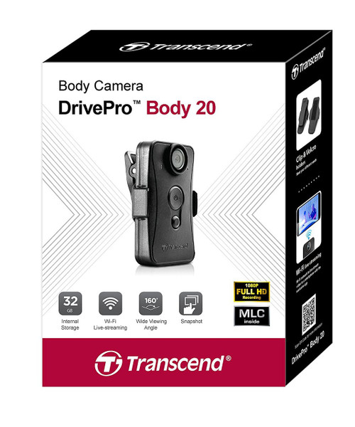 Transcend 32G DrivePro Body 20, Non-LCD (changeable 360° angle lens,built-in WiFi)