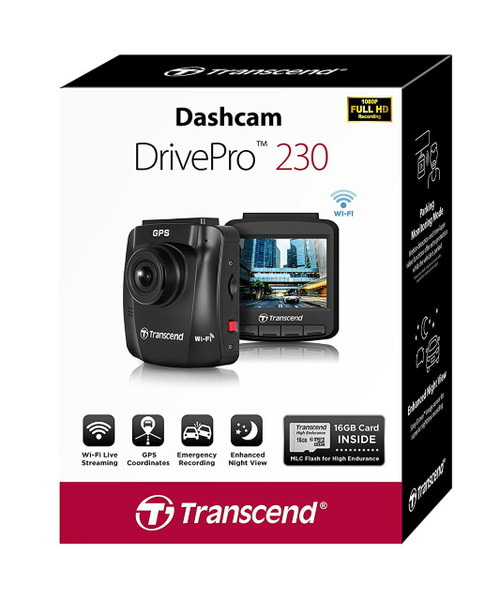 """Transcend DrivePro 230 DashCam, 2.4"""" 32GB - Suction Mount (Sony Exmor, Wifi, Parking, LCD, Full HD)"""
