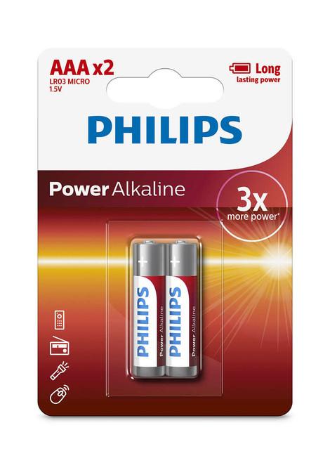 Philips Powerlife Alkaline Batteries 2 x AAA -(LR03P2B/97)