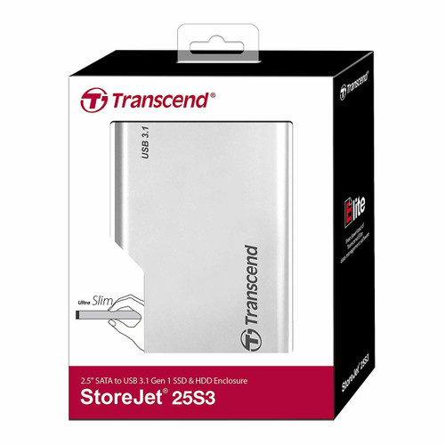 """Transcend USB3.0 StoreJet 25S3 Enclosure for 2.5"""" SSD/HDD"""