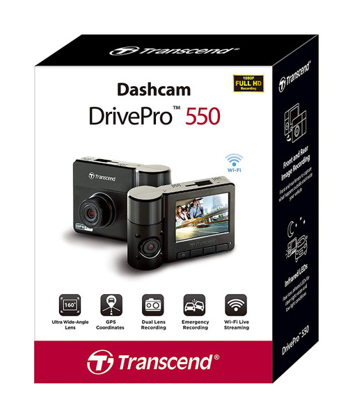 "TRANSCEND DRIVEPRO 550 DashCam TS-DP550A-64G, 2.4"" 64GB  DUAL LENS, SONY SENSOR"
