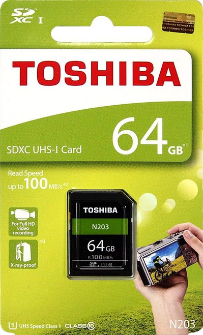 Toshiba 64GB SDHC UHS-I Class 10 SD Card, 100MB/s, N203