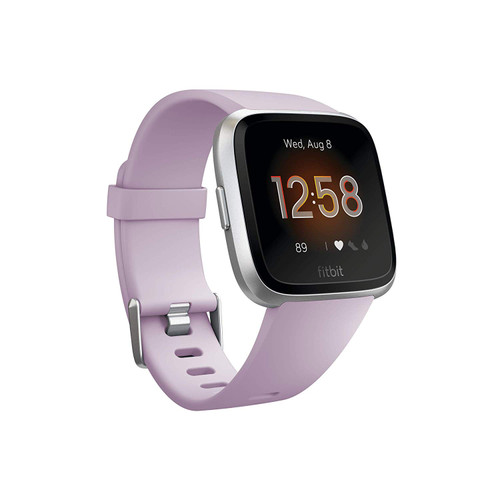 Fitbit Versa Lite Edition Smart Watch, 1 Count,  Lilac/Silver Aluminum (S & L bands included)