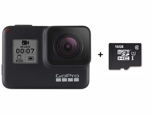GoPro HERO7 Black — Waterproof Digital Action Camera with Touch Screen 4K HD Video 12MP Photos Live Streaming Stabilization + (Free Micro SDHC 16GB + SD Adapter)