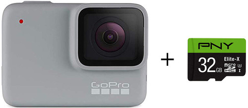 GoPro HERO7 White + PNY Elite-X 32GB microSDHC Card Adapter-UHS-I, U3 - Waterproof Digital Action Camera with Touch Screen 4K HD Video 10MP Photos Live Streaming Stabilization