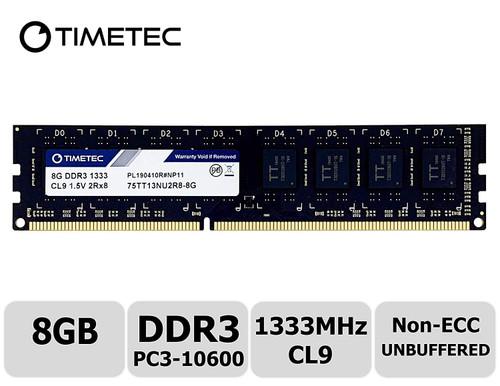 Timetec 8GB DDR3 1333MHz PC3-10600 Unbuffered Non-ECC 1.5V CL9 2Rx8 Dual Rank 240 Pin UDIMM Desktop Memory Ram Module Upgrade