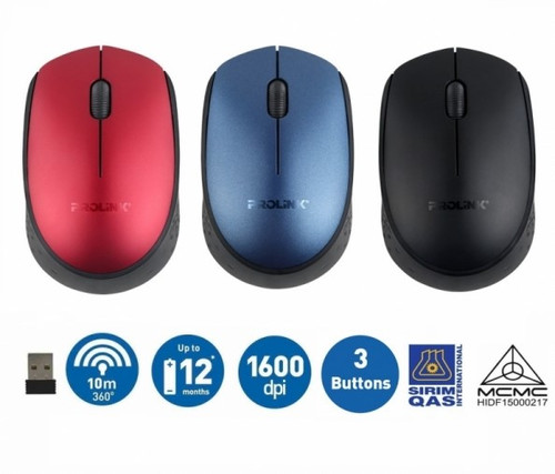 PROLiNK PMW5008-MBLU, 2.4GHz Wireless, Nano Optical Mouse (1600dpi/3-button) - Midnight Blue