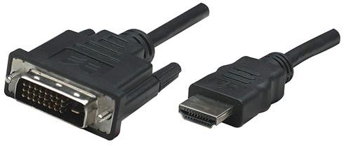 Manhattan HDMI Male to DVI-D 24+1 Male, Dual Link, Black, 1.8 m (6 ft.)