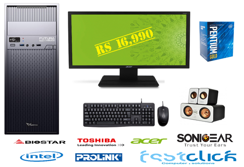 "Student PC set, Intel Pentium Gold G5400, Acer 19.5"" Monitor V206HQL,  4GB DDR4, 1TB Toshiba HDD,  Alcatroz Futura Black Red N5000 Pro ATX Magnum Pro 225 PSU, Mouse & Keyboard, 2.1 Speakers, 2 Years Warranty"