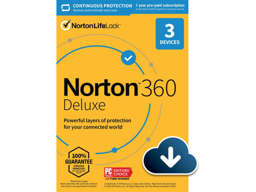NORTON 360 DELUXE 3 DEVICES 25GB CLOUD BACKUP 1 YEAR SUB