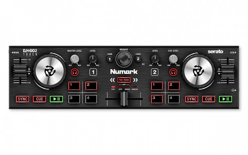 Numark DJ2GO2 Touch – Compact 2 Deck USB DJ Controller For Serato DJ with a Mixer / Crossfader, Audio Interface and Touch Capacitive Jog Wheels