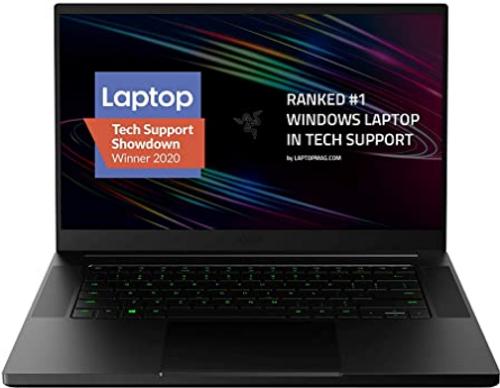 "Razer Blade 15 Base Gaming Laptop 2020: Intel Core i7-10750H 6-Core, NVIDIA GeForce GTX 1660 Ti, 15.6"" FHD 1080p 144Hz, 16GB RAM, 256GB SSD, CNC Aluminum, Chroma RGB Lighting, Thunderbolt 3, Black"