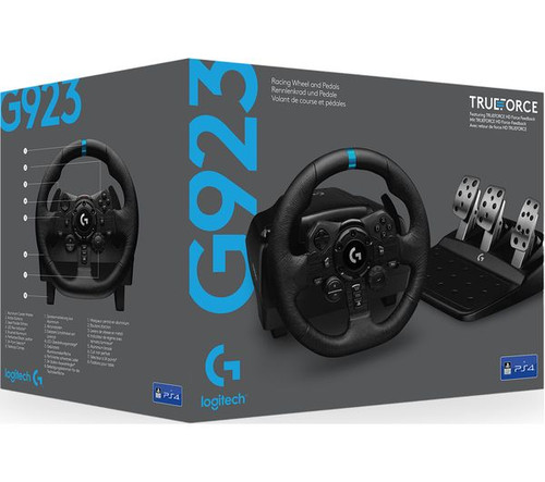 Logitech G923 Racing Wheel and Pedals for Playstation 4 and PC featuring TRUEFORCE up to 1000 Hz Force Feedback, Responsive Pedal, Dual Clutch Launch Control, and Genuine Leather Wheel Cover