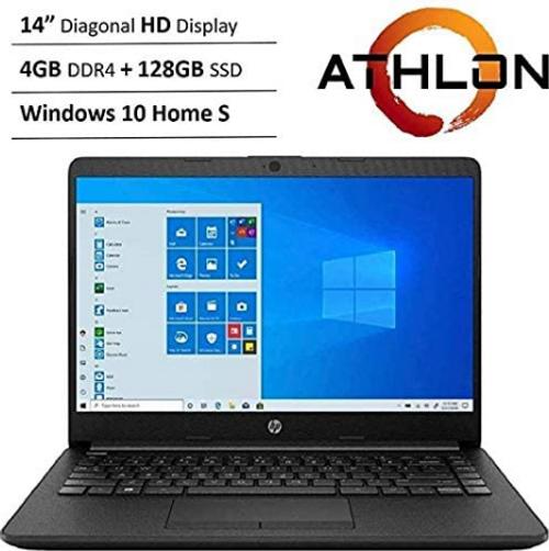 "HP 14"" HD WLED Backlit High Performance Business Laptop, AMD Athlon Silver 3050U up to 3.2GHz, 4GB DDR4, 128GB SSD, Wireless-AC, HDMI, Bluetooth, Webcam, SD Card Reader, Windows 10 S"