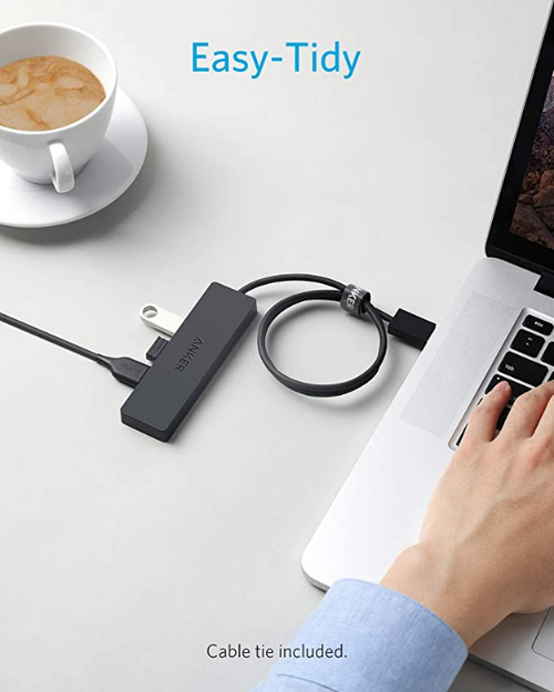 Anker 4-Port USB 3.0 Hub, Ultra-Slim Data USB Hub with 2 ft Extended Cable [Charging Not Supported], for MacBook, Mac Pro, Mac mini, iMac, Surface Pro, XPS, PC, Flash Drive, Mobile HDD