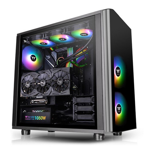 Thermaltake View 31 RGB Dual Tempered Glass SPCC ATX Mid Tower Gaming Computer Case Chassis, 3 x14cms ARGB LED Ring Fans Pre-installed CA-1H8-00M1WN-02
