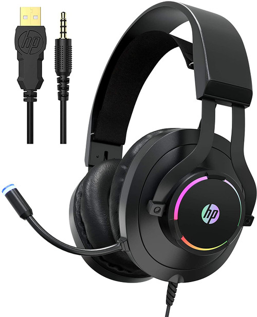 HP H360 Gaming Xbox One Headset with Mic, Gaming Headphones for PS4, PC, Laptop, Nintendo Switch with Noise Cancelling Microphone, Wired Over Ear Head Set with LED Lights