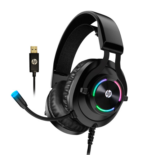 HP H360GS USB PC Gaming Headset with Microphone- 7.1 Virtual Surround Sound Game Headphones with Noise Cancelling Mic -Breathable Leatherette Memory Foam Ear