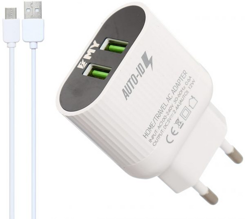 EMY MY-A202 Dual USB Travel Charger 2.4A