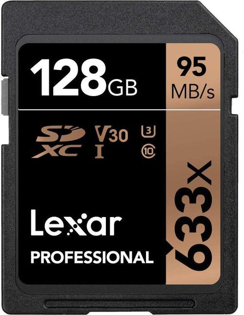 Lexar 128GB SD Card SDXC UHS-I Professional 633x Full HD Camera DSLR TF Memory Card U3 4K 95MB/s Write 45MB/s