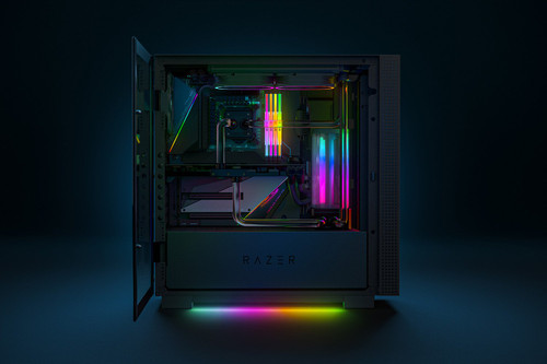 Razer Tomahawk ATX Mid-Tower Gaming Chassis: Dual-Sided Tempered Glass Swivel Doors, Ventilated Top Panel, Chroma RGB Underglow Lighting, Built-In Cable Management, Classic Black